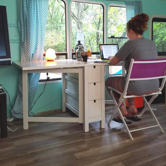 RV workstation, RV office. Making money while traveling in an RV